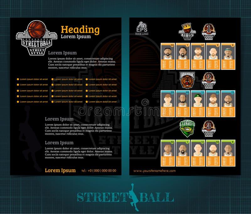 Brochure ou insecte bilatéral de basket-ball, conception de calibre de streetball avec des joueurs d'équipes et logo Vecteur de c illustration stock