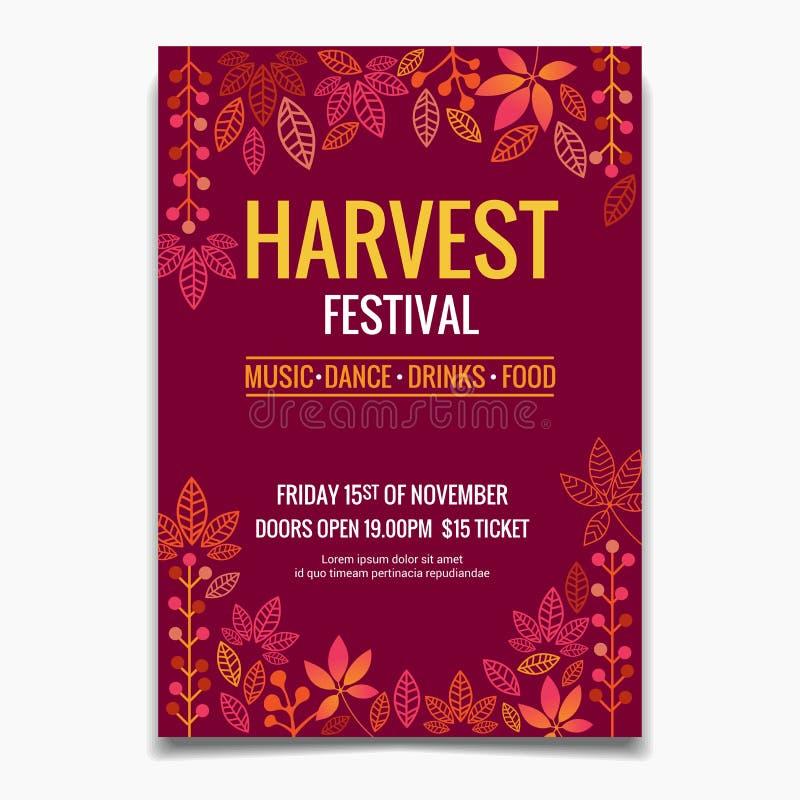 Brochure ou modèle d'affiche du Festival de la récolte. Feuilles d'automne Conception d'une invitation ou d'une affiche pour fê photo libre de droits