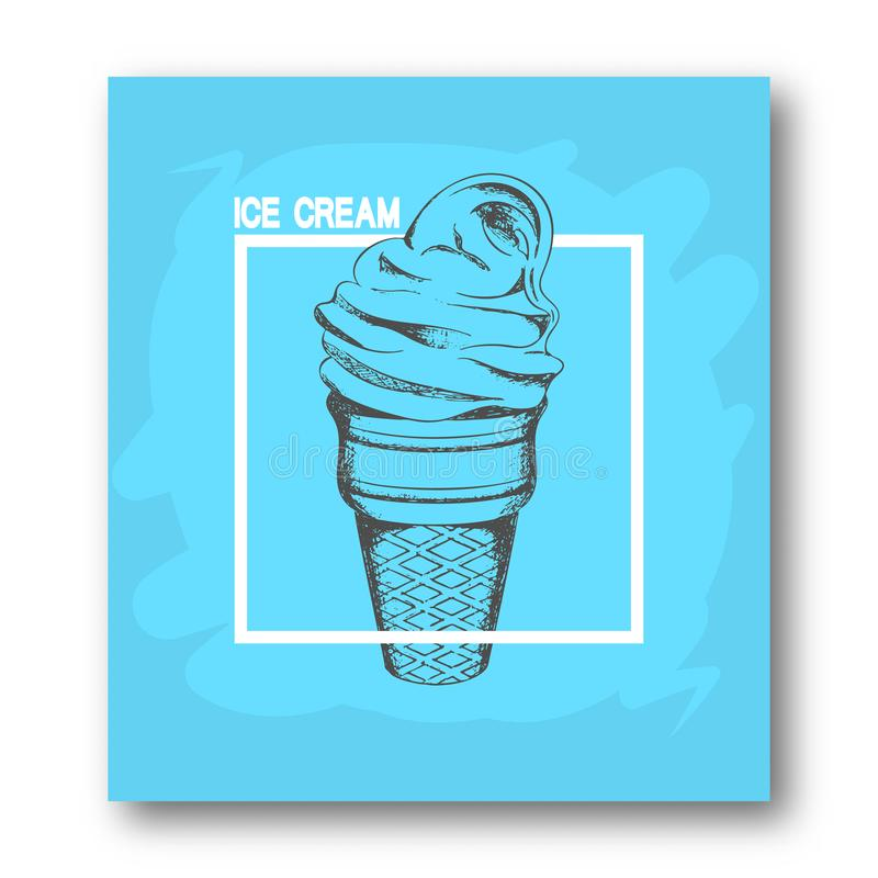 Brochure, poster, advertising flyer. Ice cream cone hand drawn, in a white frame on a blue background. Calligraphy. vector illustration