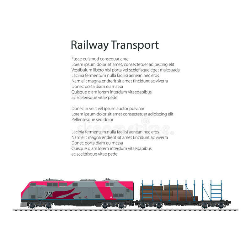 Brochure Railway Platform with Timber. Brochure Locomotive with Railway Platform with Timber , Train Isolated on White Background and Text, Rail Freight, Poster stock illustration