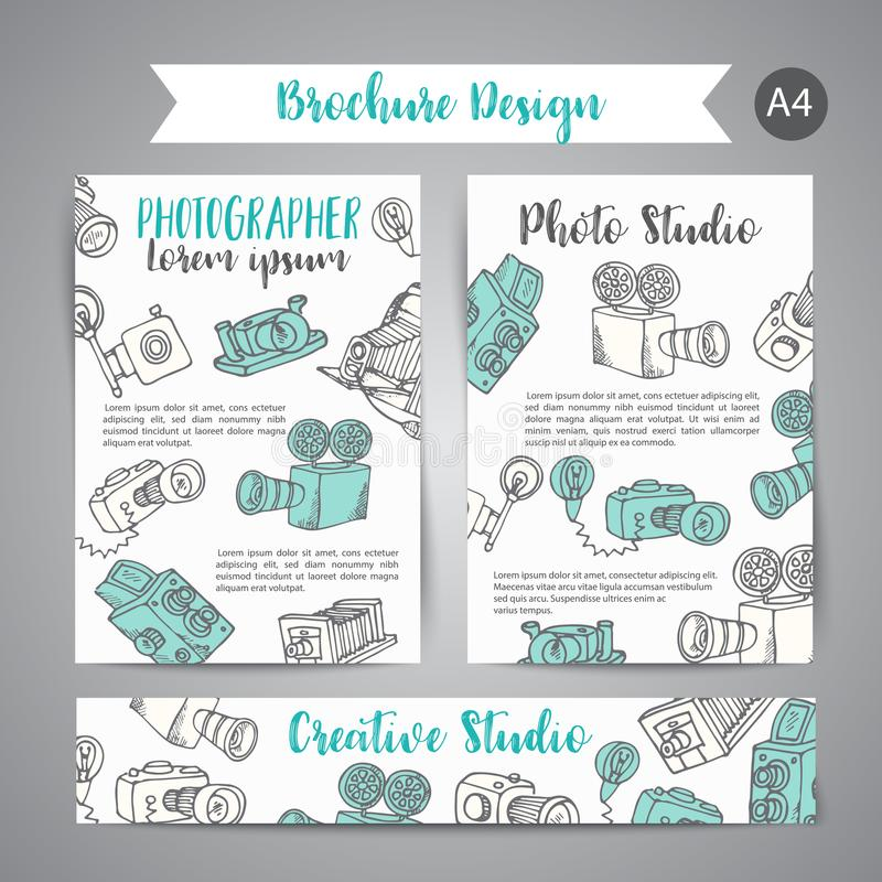 Brochure set with photo and video design in doodle style. Vector Illustration Photography theme for advert stock illustration