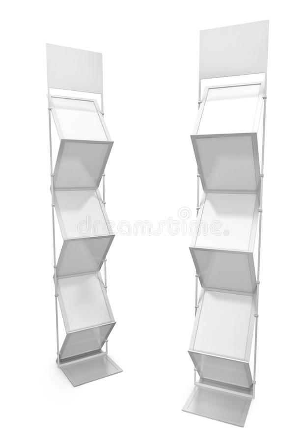 Brochure stands. Two empty brochure stands. 3D render royalty free illustration