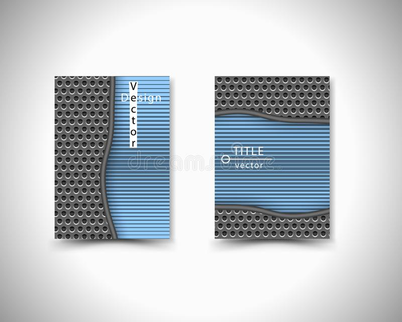 Brochure style dark tech stainless steel grid with round holes repetitive. Blue line. Vector template, background. stock illustration
