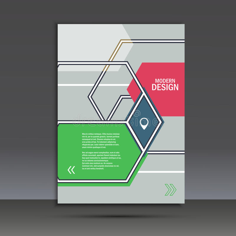 Brochure template with an abstract design of hexagons vector illustration