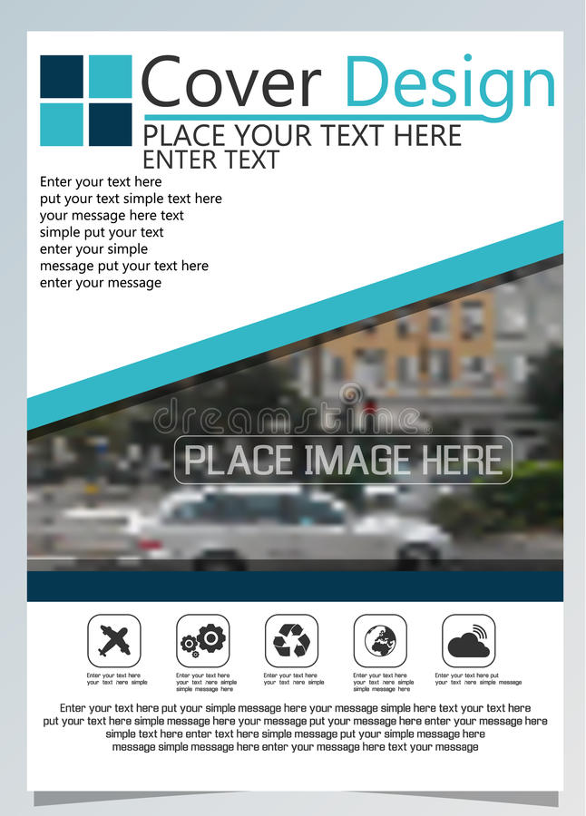 Brochure template for annual technology related reposts,vector design a4 layout with space for text and photos blue nine. Brochure template for annual technology vector illustration