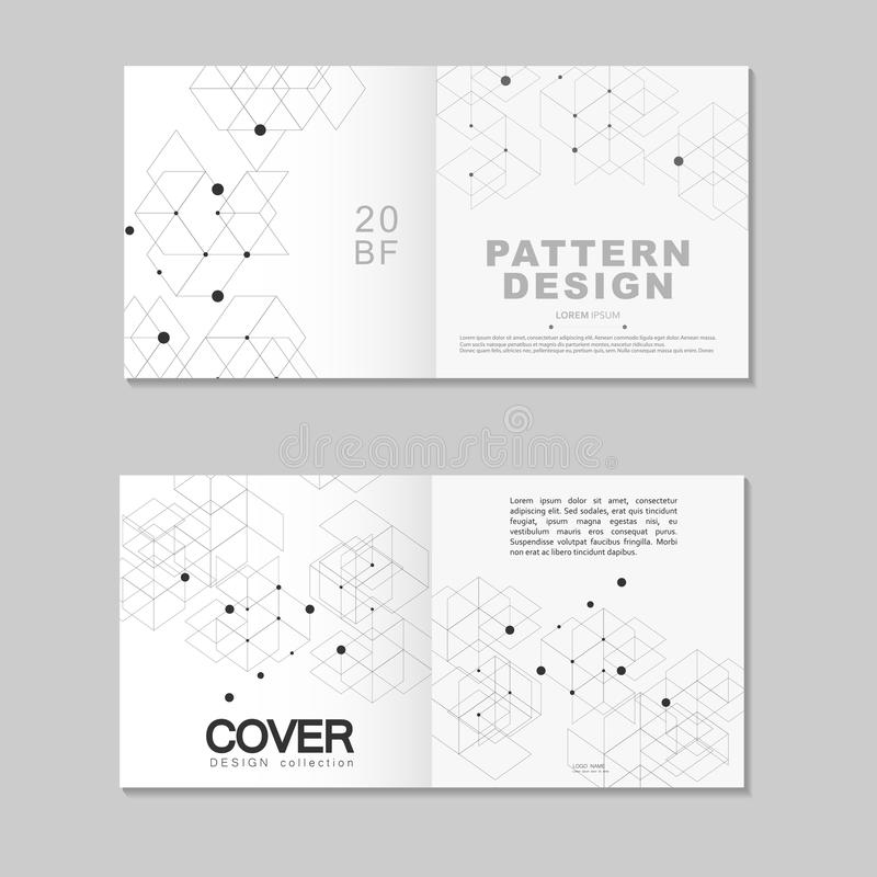 Brochure template design. Abstract connect polygonal network background with dots and lines vector illustration