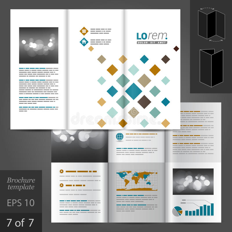 Brochure Template Design. White brochure template design with geometric pattern. Cover layout vector illustration