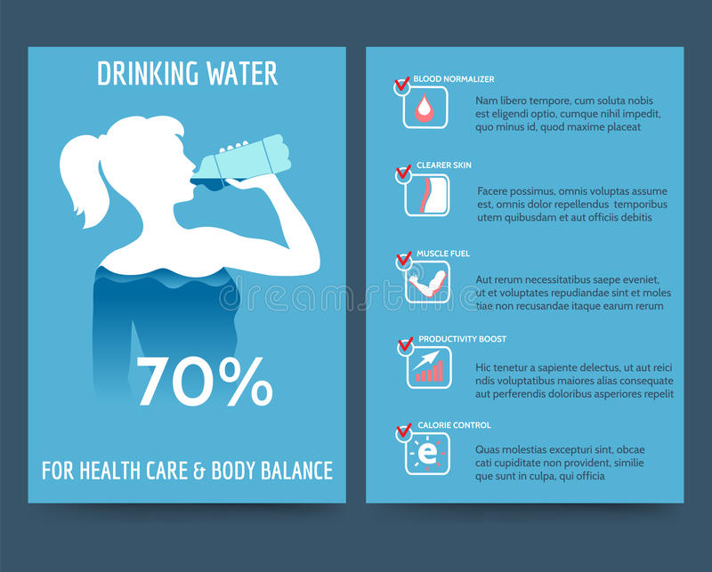 Brochure template with drinking water benefit royalty free illustration