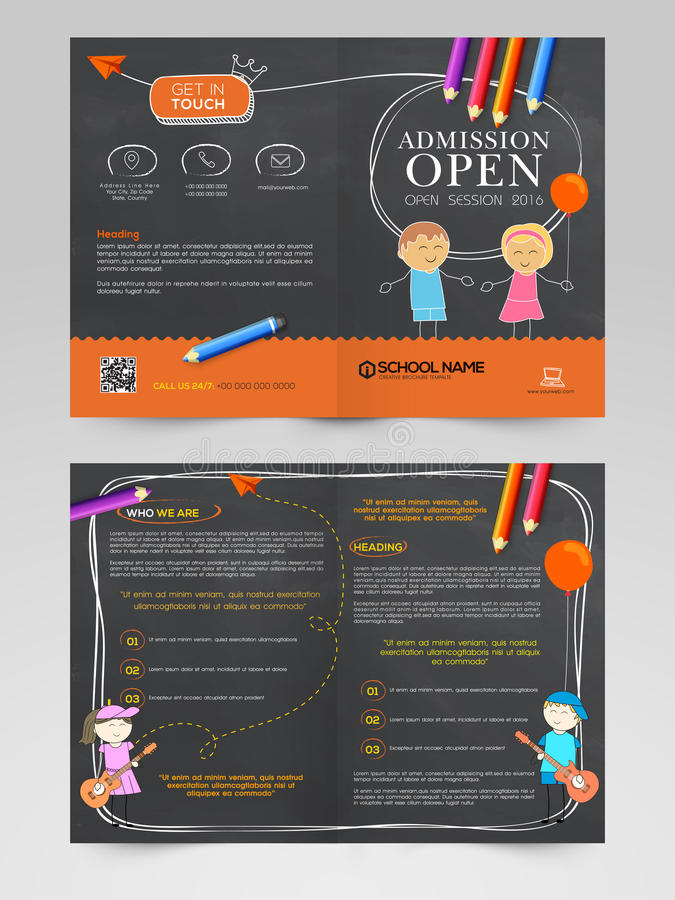 Brochure Template Or Flyer For Back To School Concept Stock