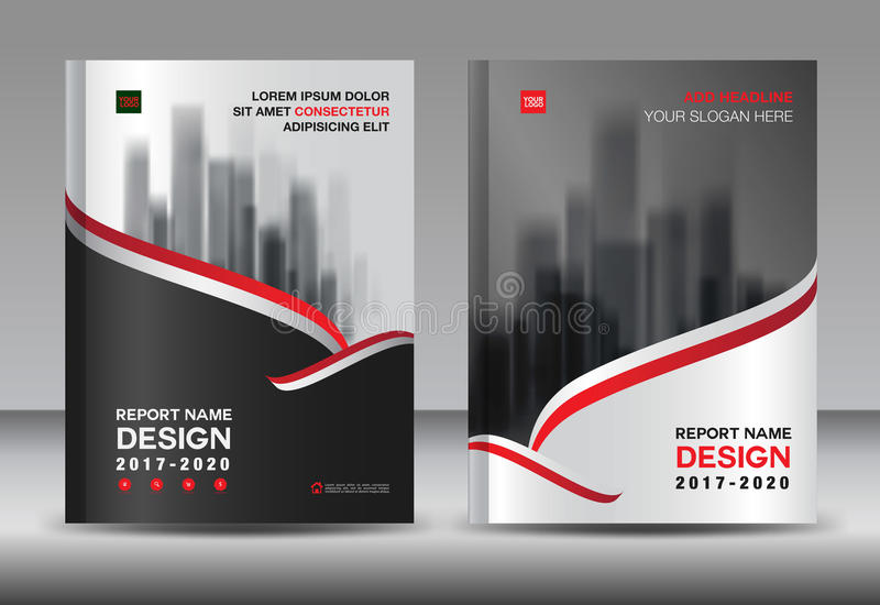 Brochure template layout, Black cover design annual report stock illustration