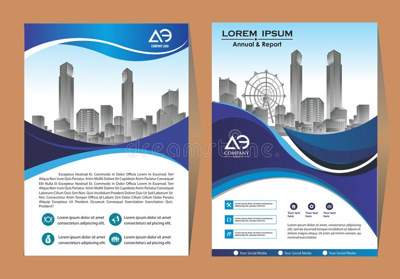 Brochure template layout, cover design annual report, magazine, flyer or booklet in A4 with blue geometric shapes on polygonal bac stock illustration