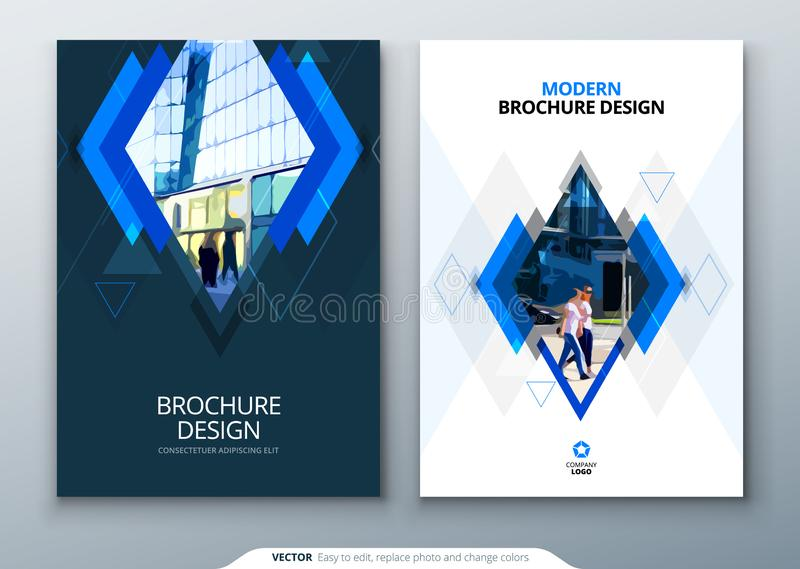 Brochure template layout design. Corporate business annual report, catalog, magazine, flyer mockup. Creative modern. Bright concept with rhombus shape royalty free illustration
