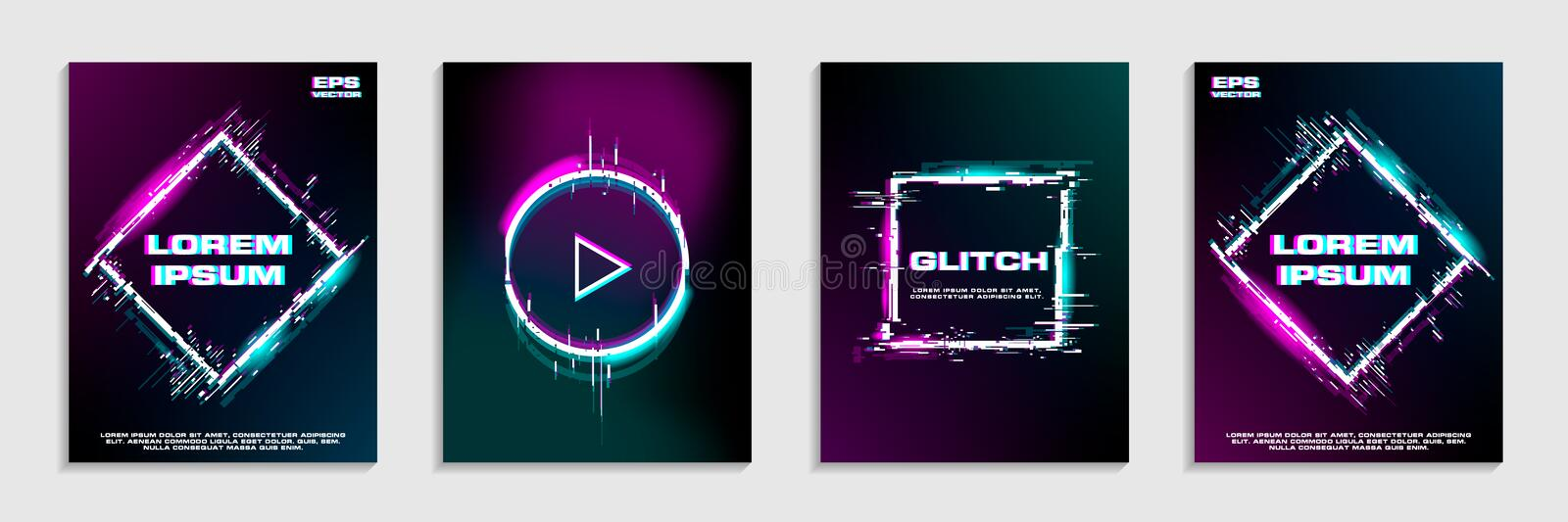 Brochure template layout design with glitch and neon effect royalty free illustration