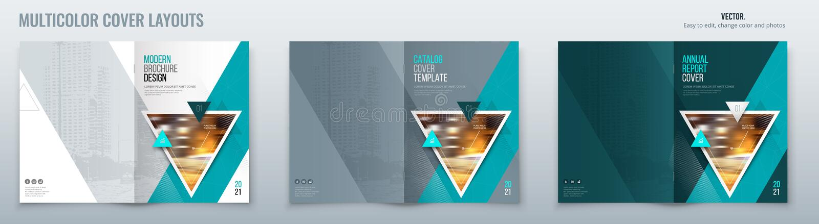 Brochure template layout design with triangles. Corporate business annual report, catalog, magazine, flyer mockup. Creative modern bright concept triangle vector illustration