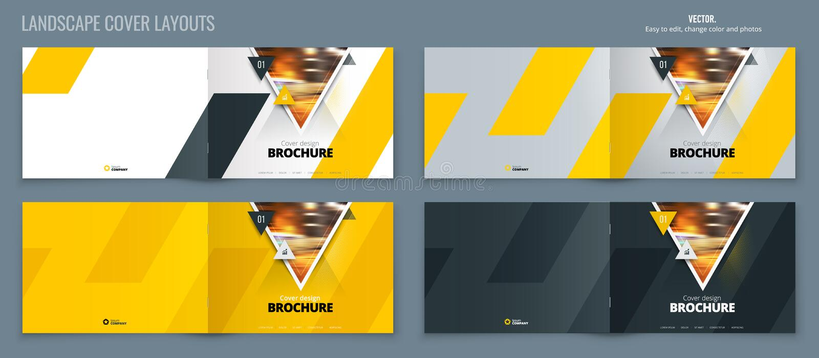 Brochure template layout, yellow cover design annual report, magazine, flyer or booklet in A4 with triangle geometric. Shapes. Vector Illustration royalty free illustration