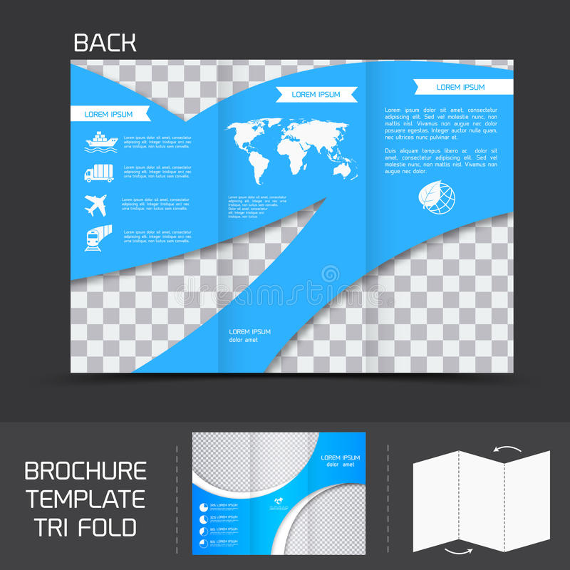 Brochure template tri fold. Blue logistics brochure leaflet tri-fold design back template vector illustration stock illustration