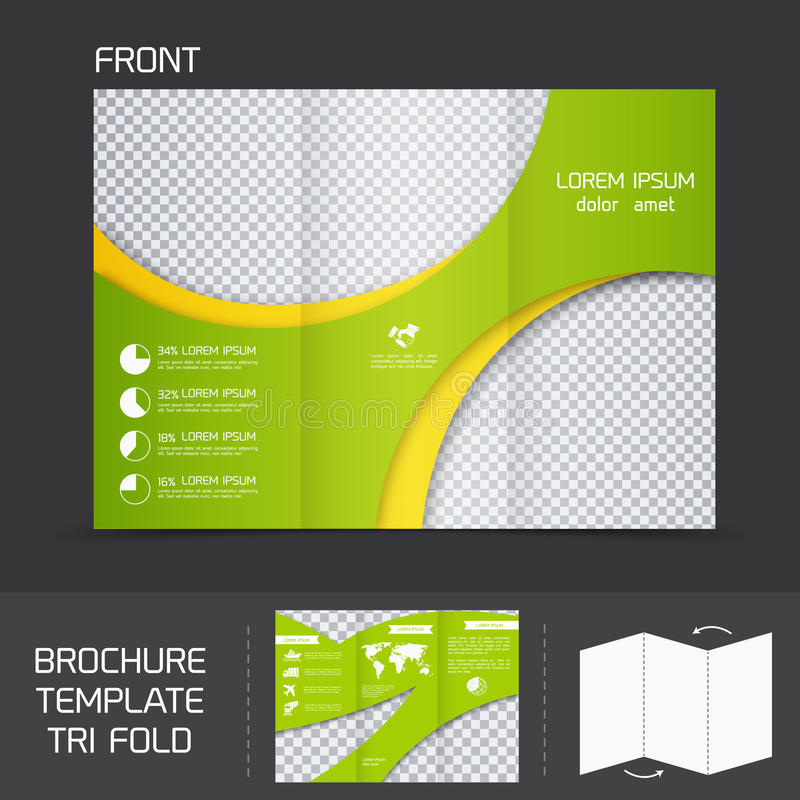 Brochure template tri fold. Brochure leaflet design template modern company tri fold newsletter vector illustration stock illustration