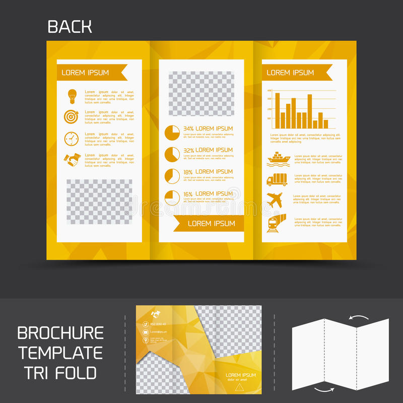 Brochure template tri fold. Yellow logistics paper brochure leaflet tri-fold design back template vector illustration vector illustration