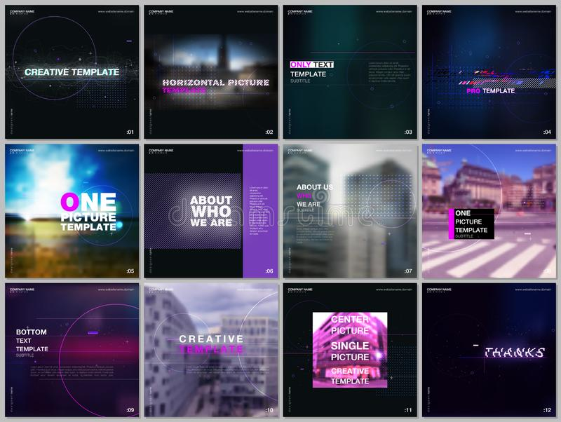 Brochure templates with technology backgrounds, glitches, lines, dots, circles. Covers design templates for square flyer stock illustration