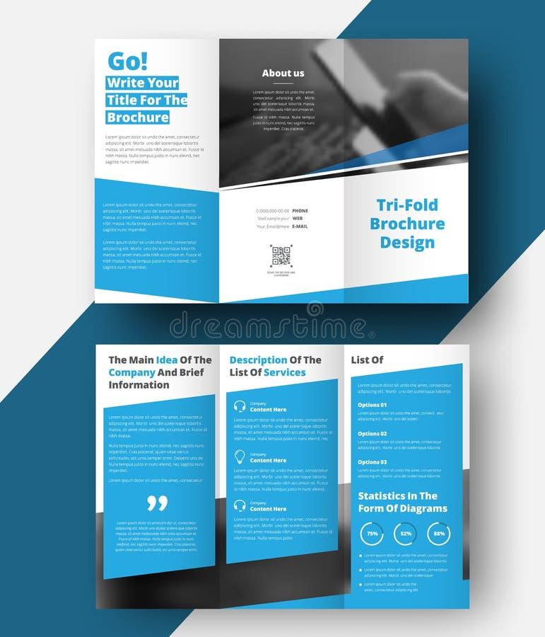 Brochure triple avec les lignes diagonales et un endroit pour des photos illustration libre de droits
