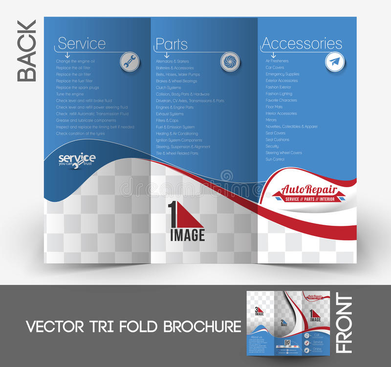 Brochure triple centrale d'automobile illustration de vecteur