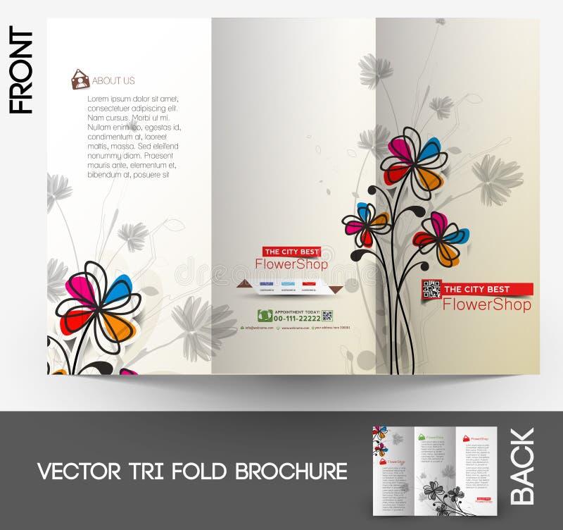 Brochure triple de fleuriste illustration stock