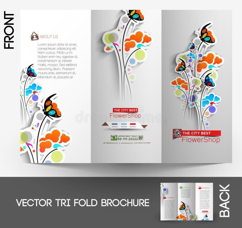 Brochure triple de fleuriste illustration de vecteur