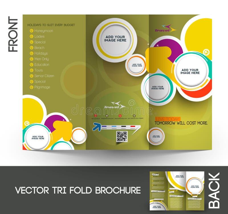 Brochure triple de voyage illustration de vecteur