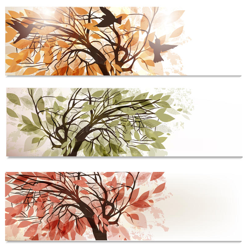 Brochure vector set in floral style with abstract trees royalty free illustration