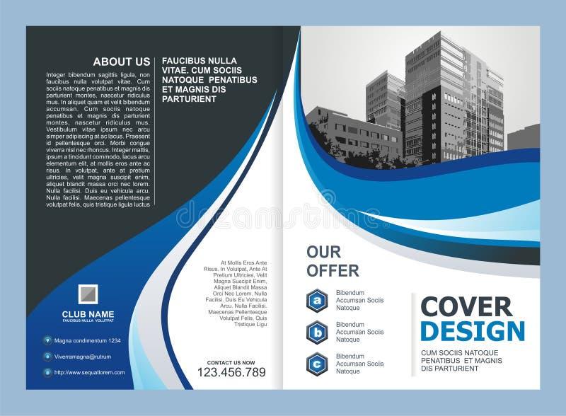 Brochure, Vlieger, Malplaatjeontwerp met Blauwe en Zwarte kleur stock illustratie