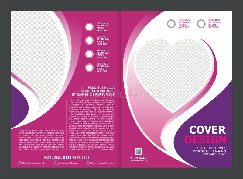 Brochure, Vlieger, Malplaatjeontwerp met Roze Kleur en liefde royalty-vrije illustratie