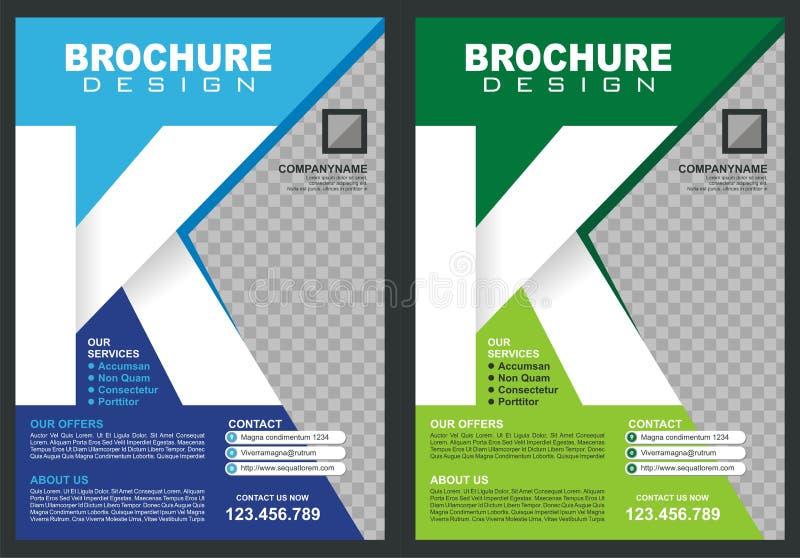 Brochure - Vlieger met de stijldekking van het brieven` K ` embleem vector illustratie