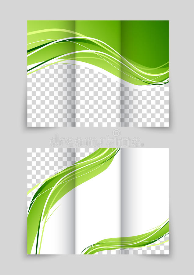 Brochure with wave. Tri-fold wave green brochure with font and back flyer design royalty free illustration