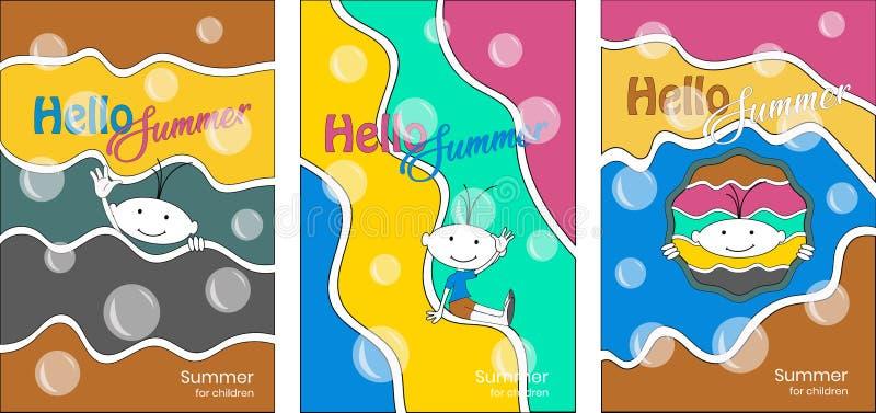 Brochures colorées créatives pour les parties des enfants illustration stock