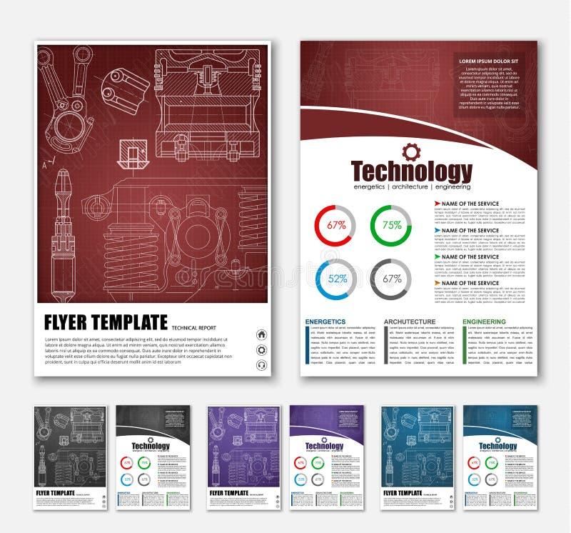 Brochures de conception avec les dessins techniques illustration stock