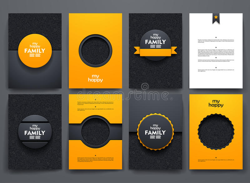 Brochures de vecteur avec des milieux de griffonnages dessus illustration libre de droits