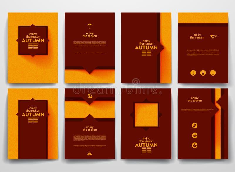 Brochures de vecteur avec des milieux de griffonnages dessus illustration de vecteur