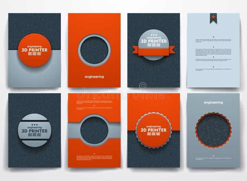 Brochures de vecteur avec des milieux de griffonnages sur trois illustration stock
