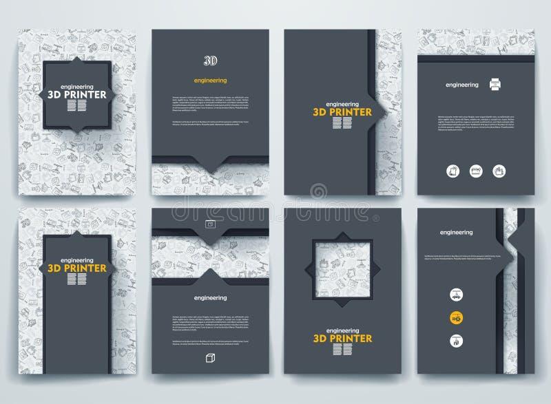 Brochures de vecteur avec des milieux de griffonnages sur trois illustration libre de droits