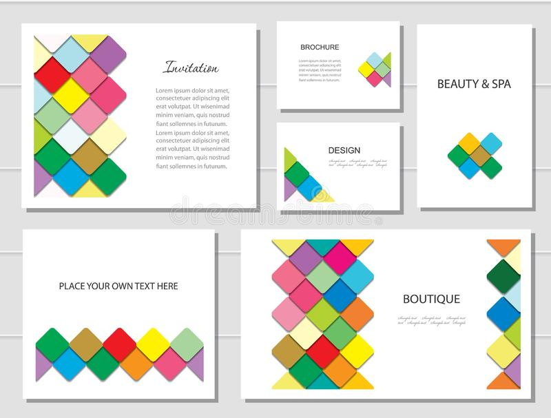 Brochures, flyers and business card templates set. Mosaic fancy pattern in different designs. vector illustration