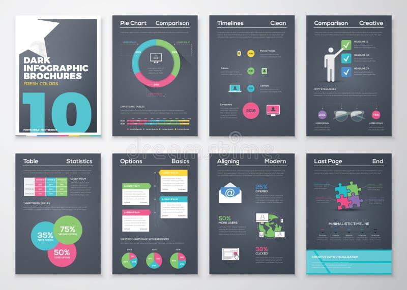 Brochures infographic de fond noir et style coloré plat illustration libre de droits