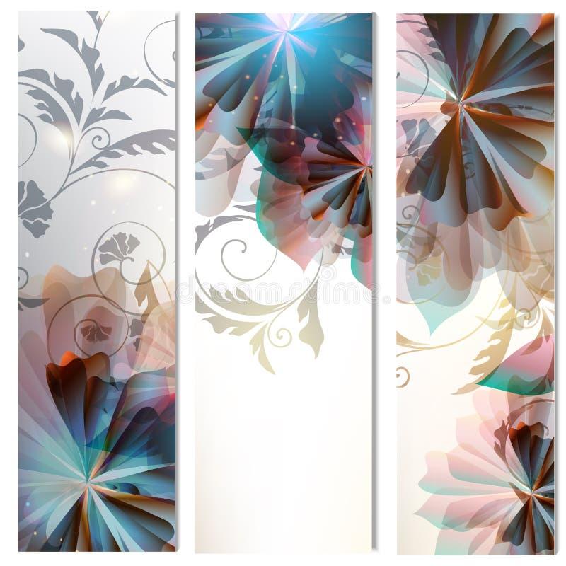 Brochures met abstracte bloemen worden geplaatst die stock illustratie