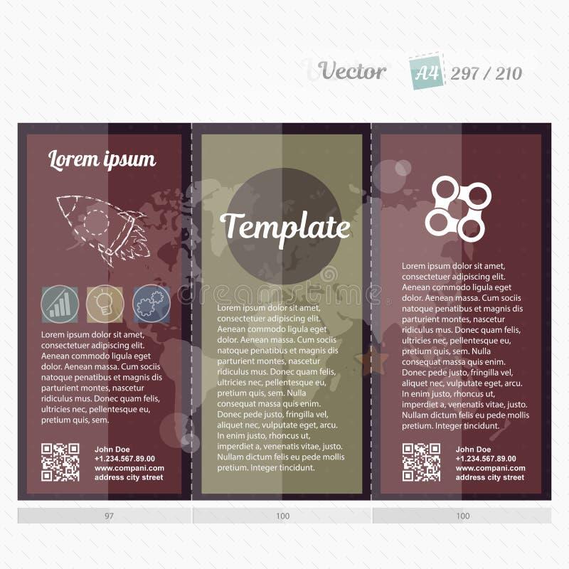 Brochurespot op ontwerpmalplaatje voor zaken, onderwijs, reclame De editable voor het drukken geschikte vector van het Trifoldboe vector illustratie