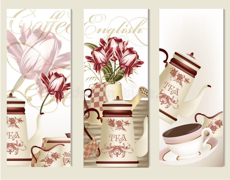 Brochurevector met uitstekende theetoebehoren die wordt geplaatst stock illustratie