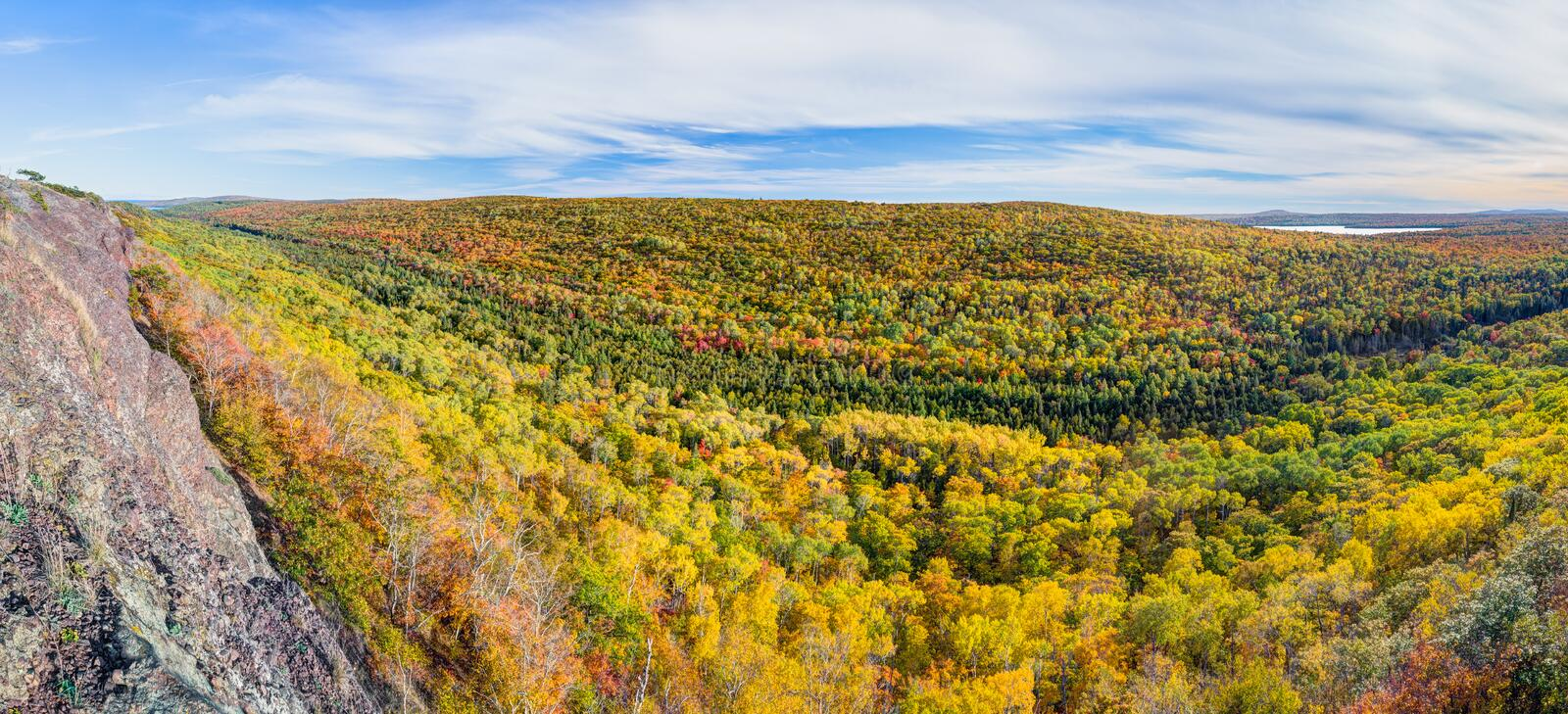 Brockway Autumn. Colorful autumn foliage decorates the hillsides viewed from Brockway Mountain Drive near Copper Harbor on the Keweenaw Peninsula of upper stock photo