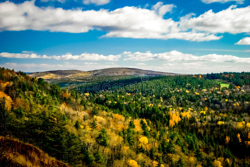 Brockway Mountain Valley. The valley below Brockway Mountain in the fall. Located in Copper Harbor, Michigan royalty free stock photo