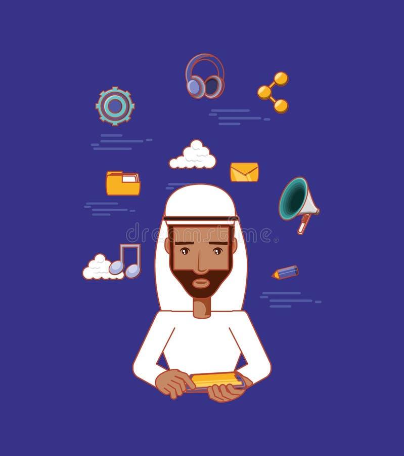 Broda arabski mężczyzna z pastylka komputerowymi ogólnospołecznymi środkami ilustracja wektor