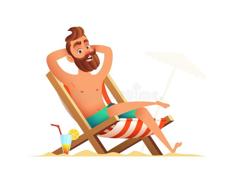 Broda mężczyzna na wakacje Męski obsiadanie, brać sunbath na plażowym seacoast i royalty ilustracja