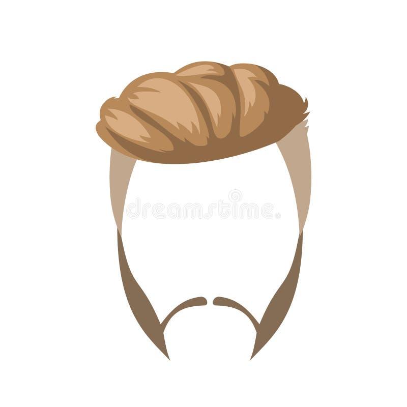Broda, wąsy i fryzura, ilustracji