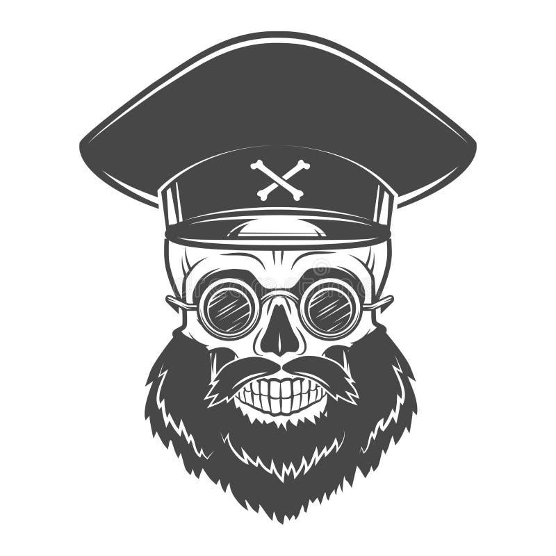 Brodata czaszka z kapitanów gogle i nakrętką nieżywy ilustracja wektor
